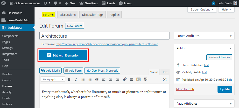 Edit with Elementor button on the Edit Forum page for BuddyBoss Platform