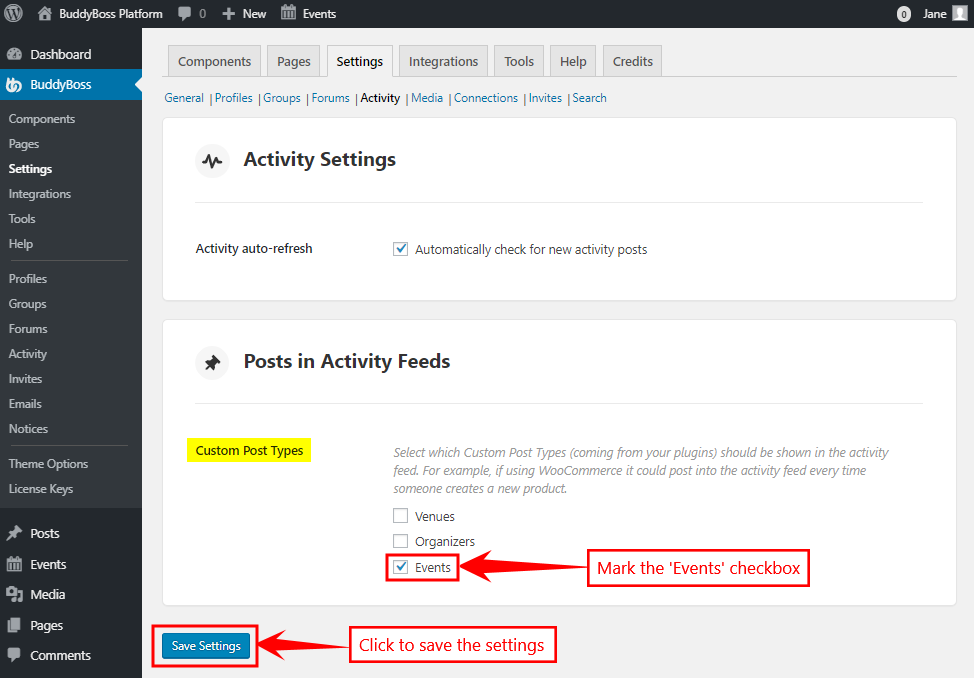 Activity Feeds setting for BuddyBoss Platform