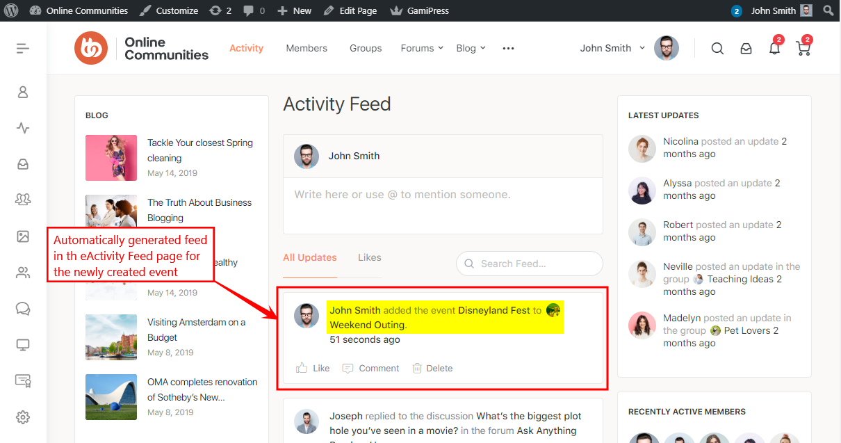 Events Manager - Activity Feed Preview