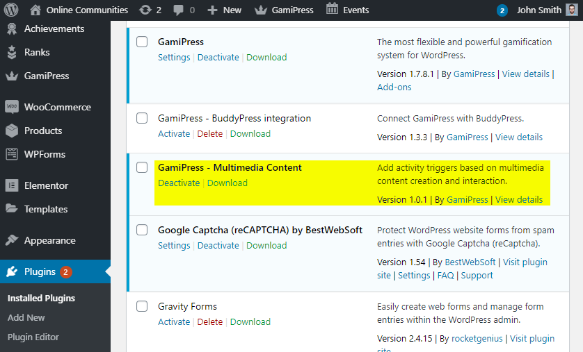 GamiPress Add-Ons - Activated add-on in the Plugins list