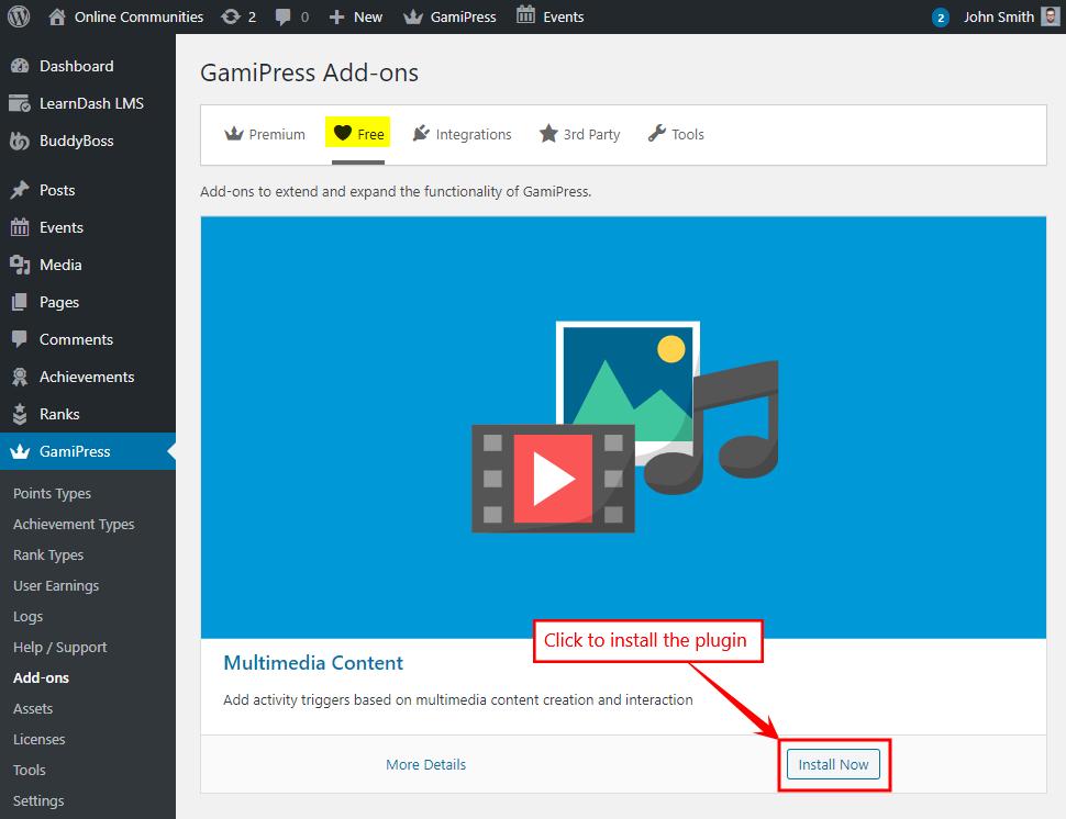 Installing a GamiPress add-on