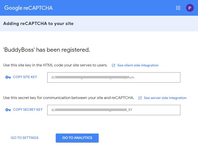 Google Captcha (reCAPTCHA) - Generated reCAPTCHA keys