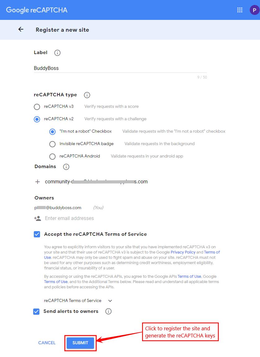 Google Captcha (reCAPTCHA) - Registering a website and generating the reCAPTCHA keys