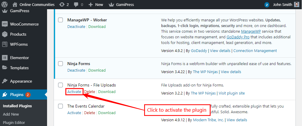 Ninja Forms - File Uploads Add-on - Activating the plugin