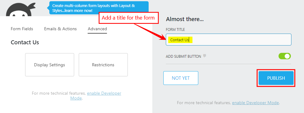 Ninja Forms - Adding a title and publishing a form
