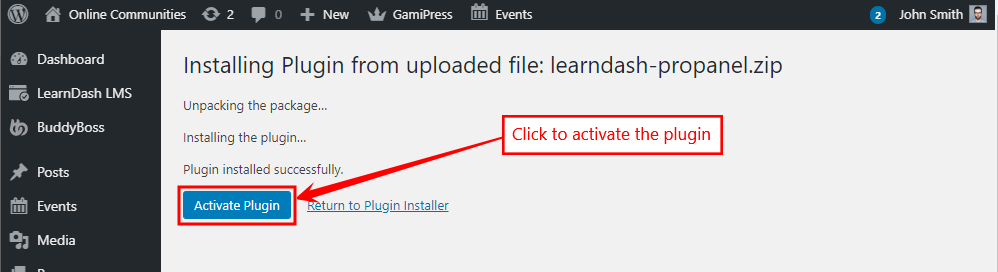 ProPanel for LearnDash - Activating the plugin