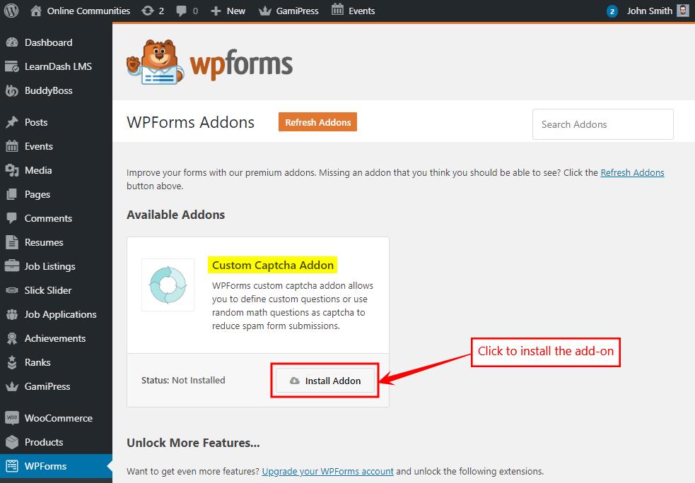 Installing an WPForms add-on