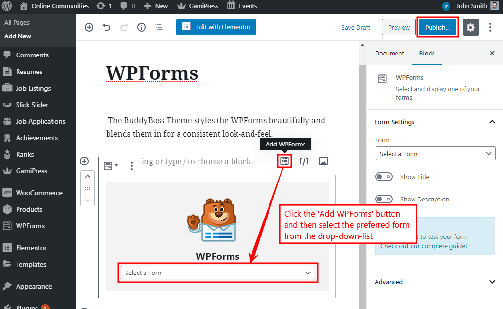 WPForms - Adding the form to a page