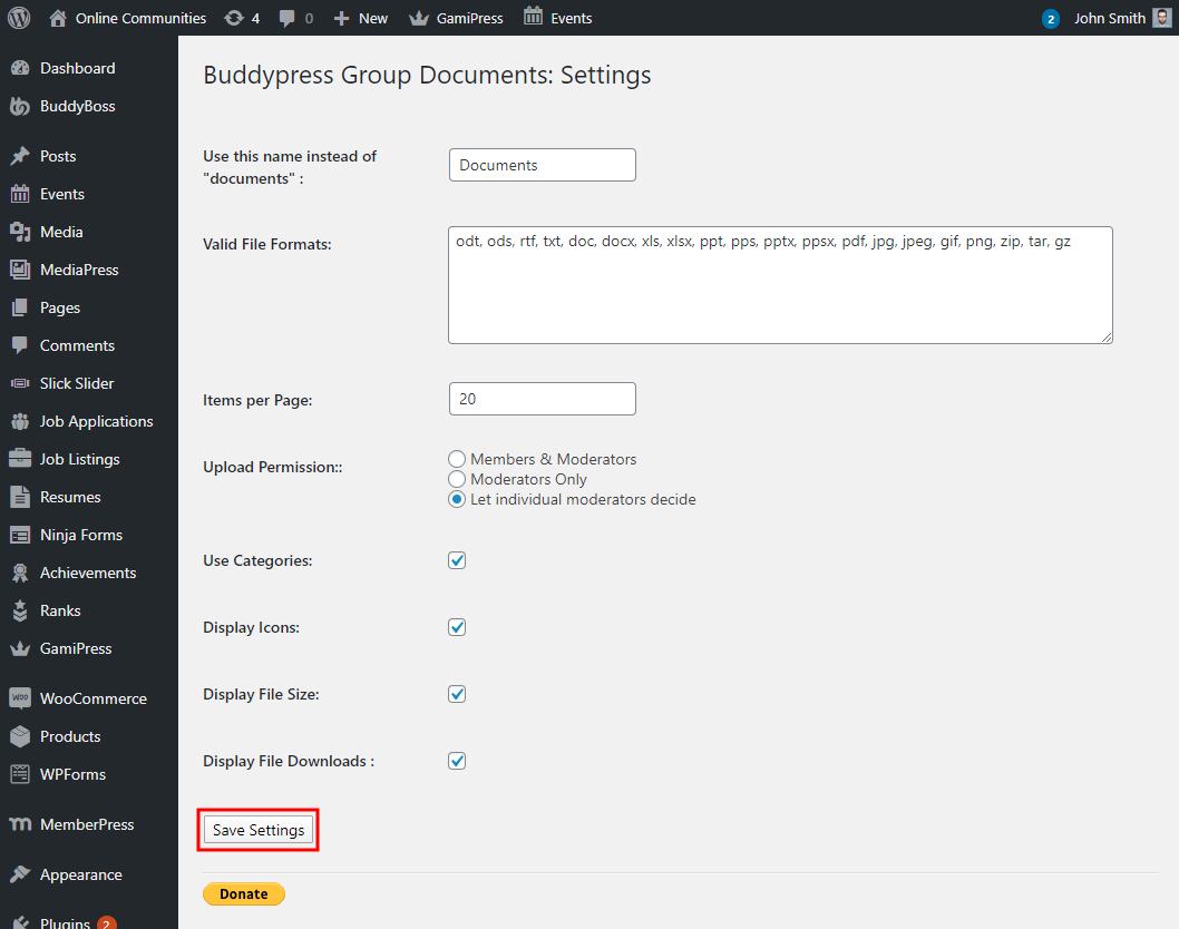 BP Group Documents - Setting up the plugin