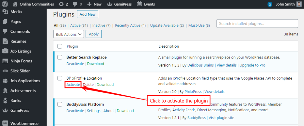 BP xProfile Location - Activating the plugin