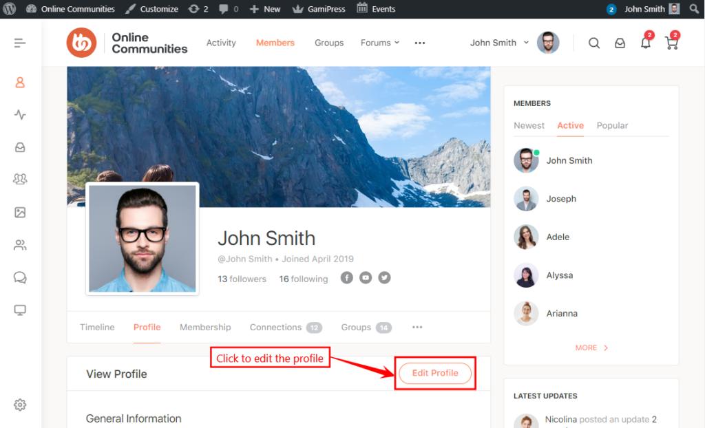 BP xProfile Location - Editing a user's profile