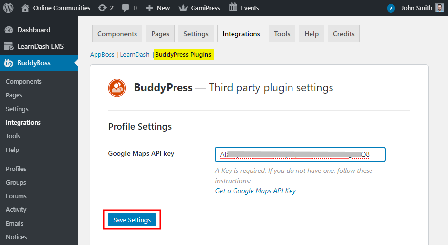 BP xProfile Location - Setting up the plugin