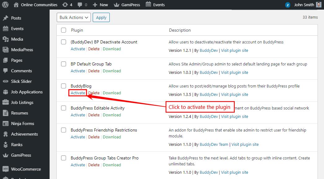 BuddyBlog - Activating the plugin
