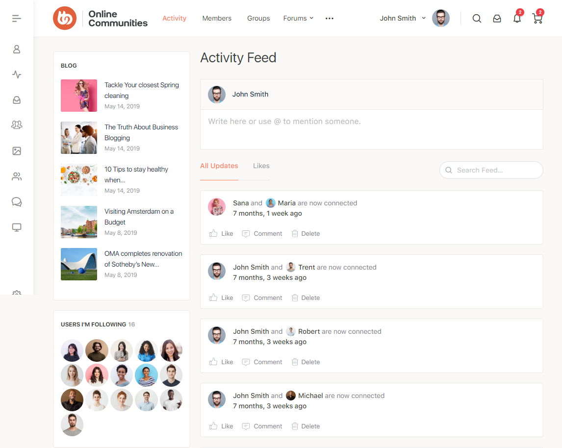 BuddyPress Activity Filter - Filtered feed preview