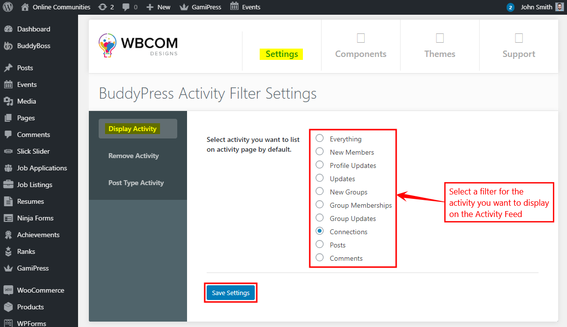 BuddyPress Activity Filter - Setting up the plugin