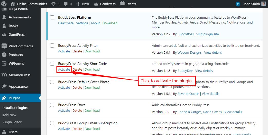 BuddyPress Activity Shortcode - Activating the plugin