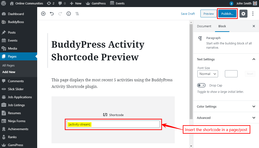 BuddyPress Activity Shortcode - Adding the shortcode to a page