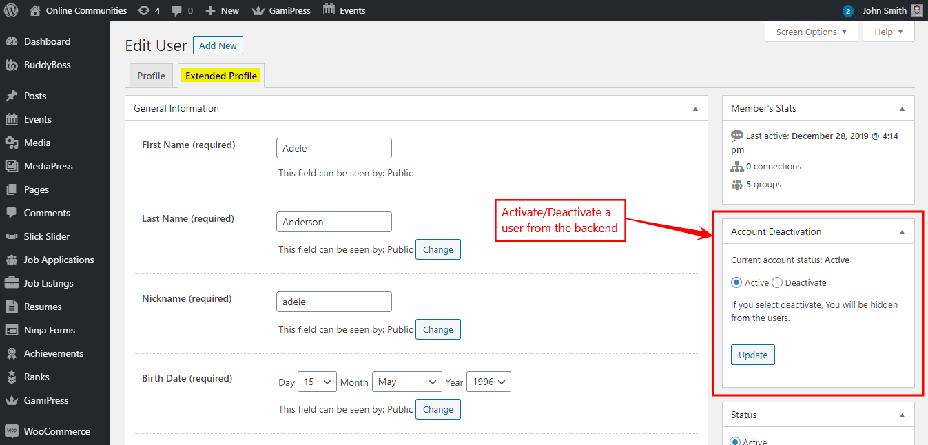 BuddyPress Deactivate Account - Activating or Deactivating a user from the backend