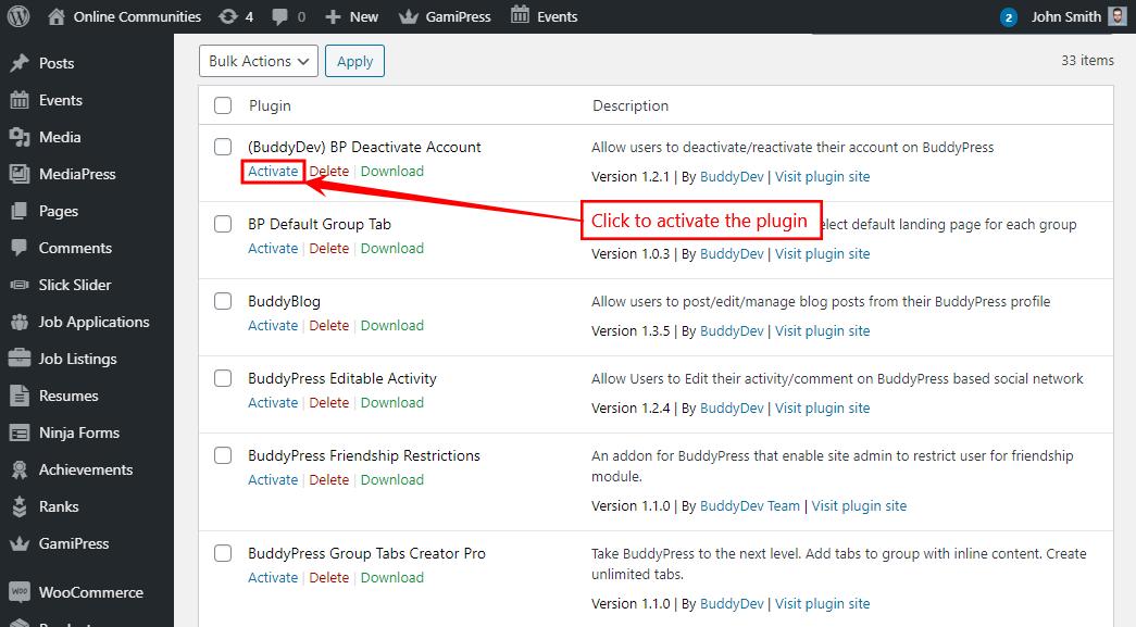 BuddyPress Deactivate Account - Activating the plugin