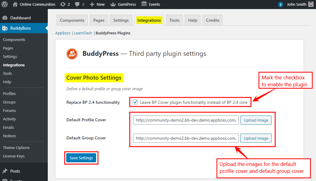 BuddyPress Default Cover Photo - Setting up the plugin