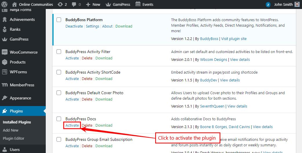 BuddyPress Docs - Activating the plugin