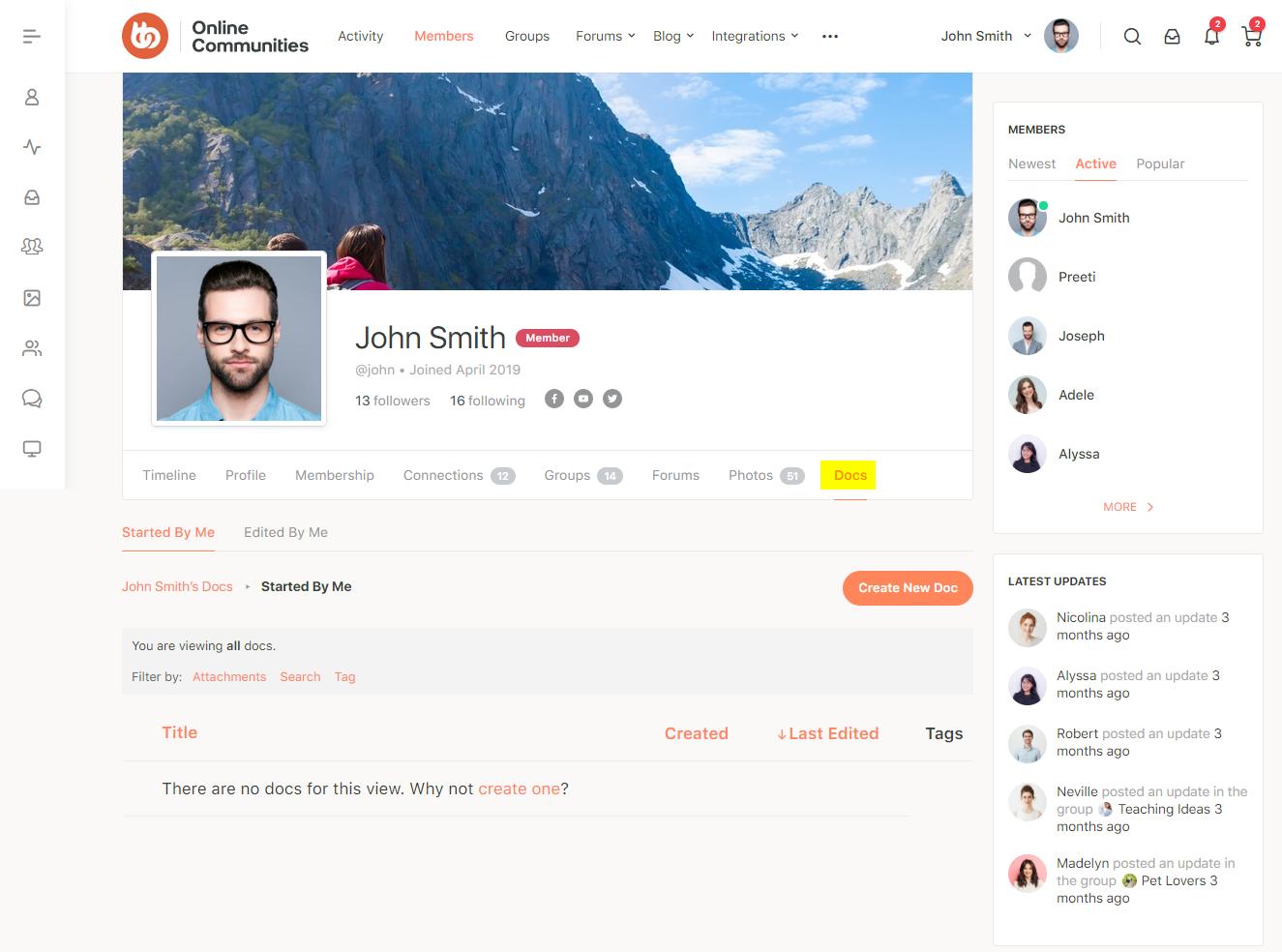 BuddyPress Docs - Docs tab on a user's profile