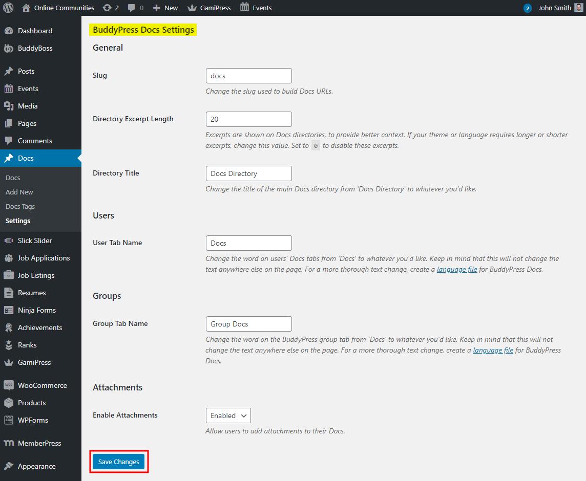 BuddyPress Docs - Setting up the plugin