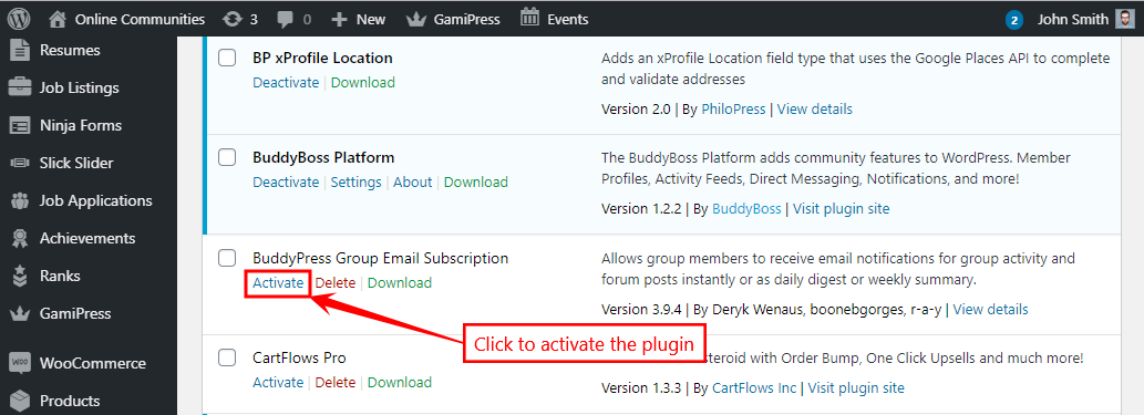 BuddyPress Group Email Subscription - Activating the plugin