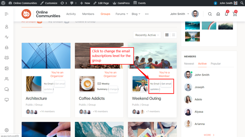 BuddyPress Group Email Subscription - Changing the email subscription level of a group