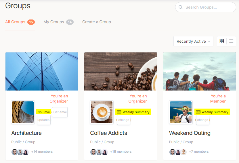 BuddyPress Group Email Subscription - Email subscription level of a group