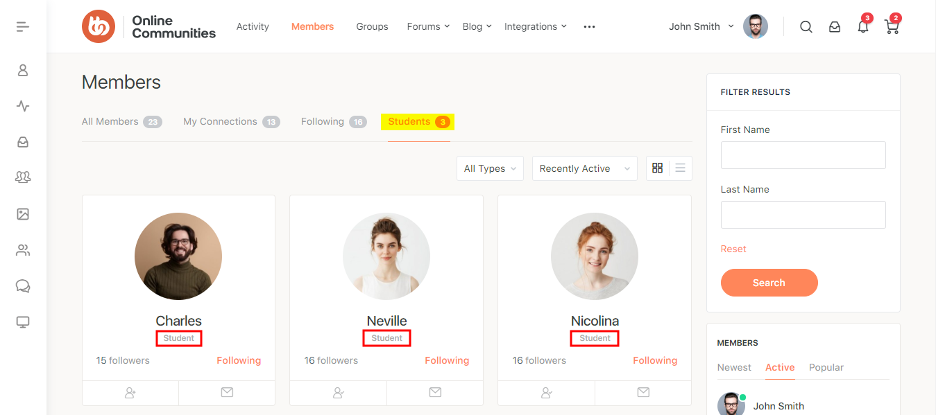 BuddyPress Member Types Pro - Role-based member type on the Members directory