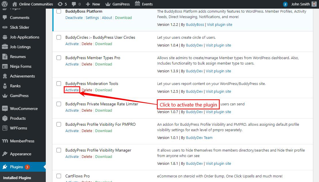 BuddyPress Moderation Tools - Activating the plugin