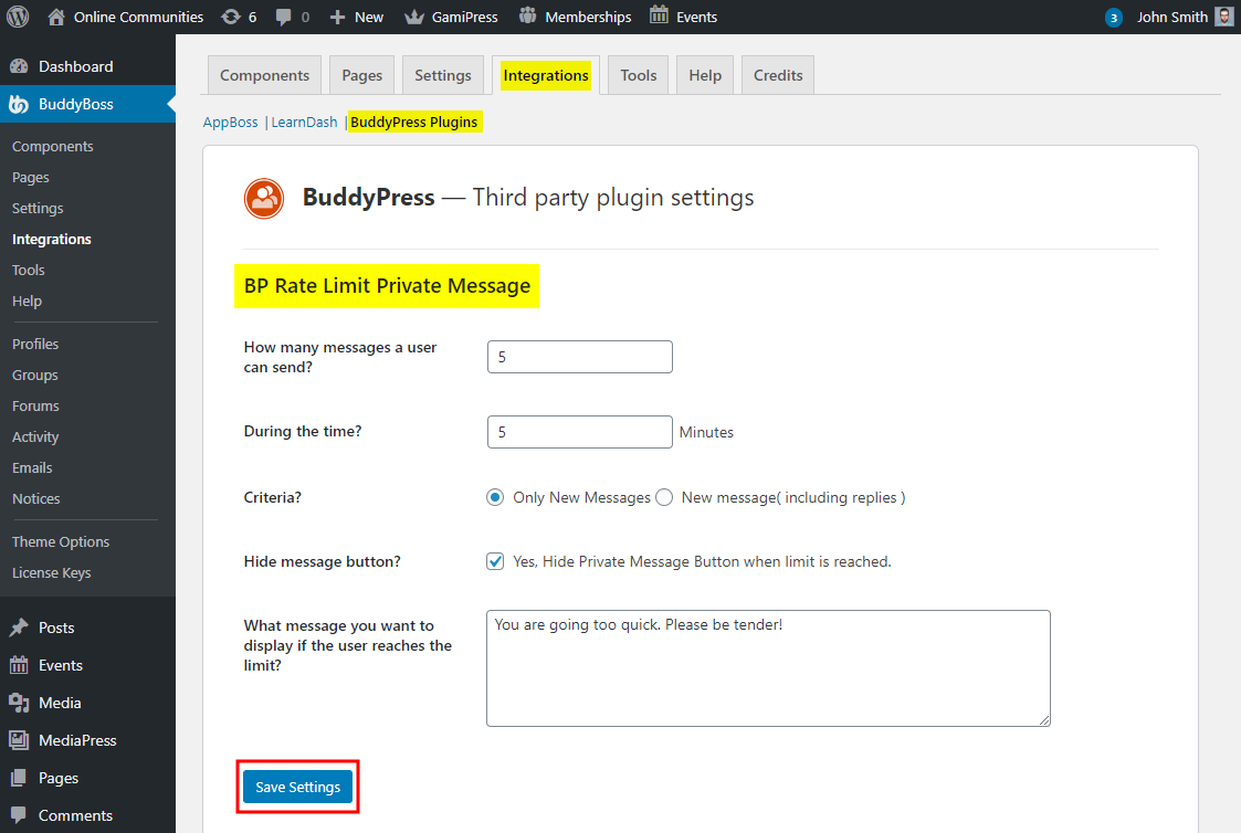 BuddyPress Private Message Rate Limiter - Setting up the plugin