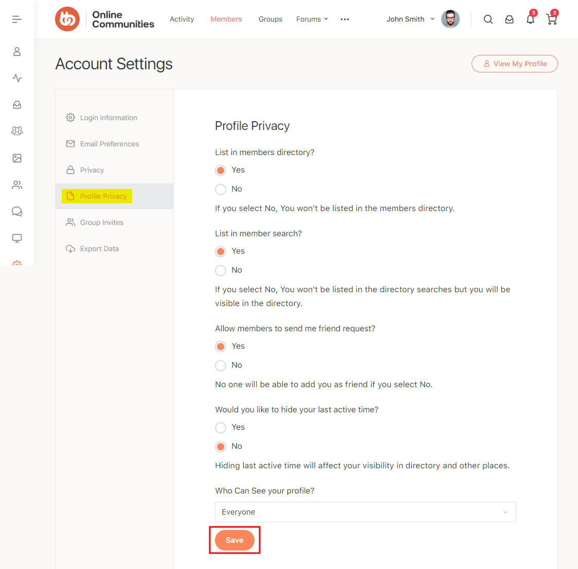 BuddyPress Profile Visibility Manager - Profile Privacy settings of a user