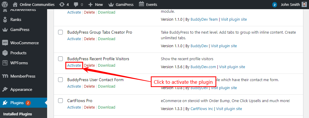 BuddyPress Recent Profile Visitors - Activating the plugin