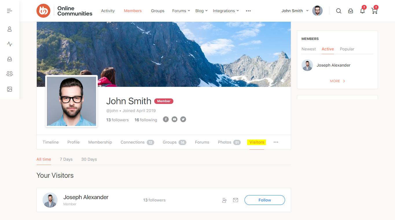 BuddyPress Recent Profile Visitors - Visitors tab on a user's profile