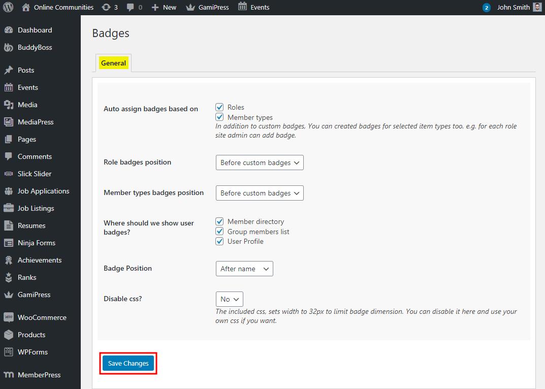BuddyPress User Badges - Setting up the plugin
