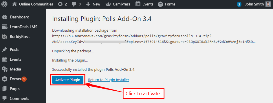 Gravity Forms Add-ons - Polls Add-on - Activate
