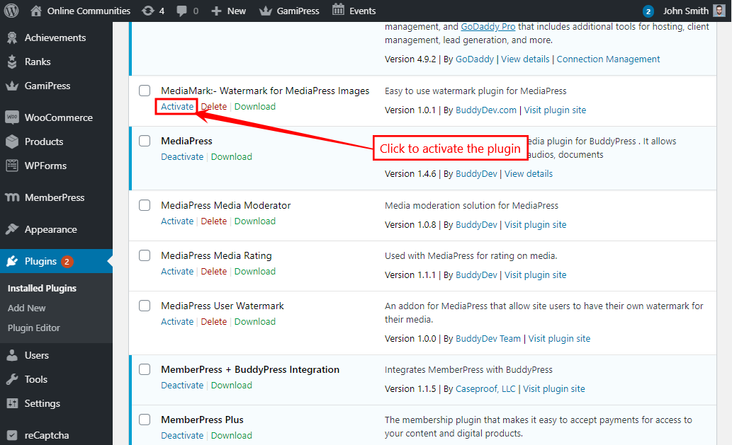 MediaMark - Activating the plugin