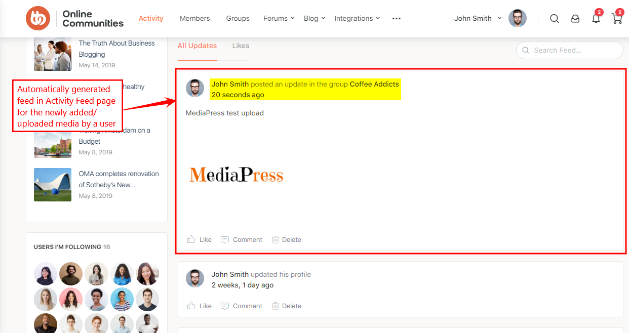 MediaPress - Activity feed for a new media