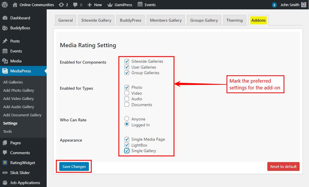 MediaPress Add-Ons - Setting up the MediaPress Media Rating plugin