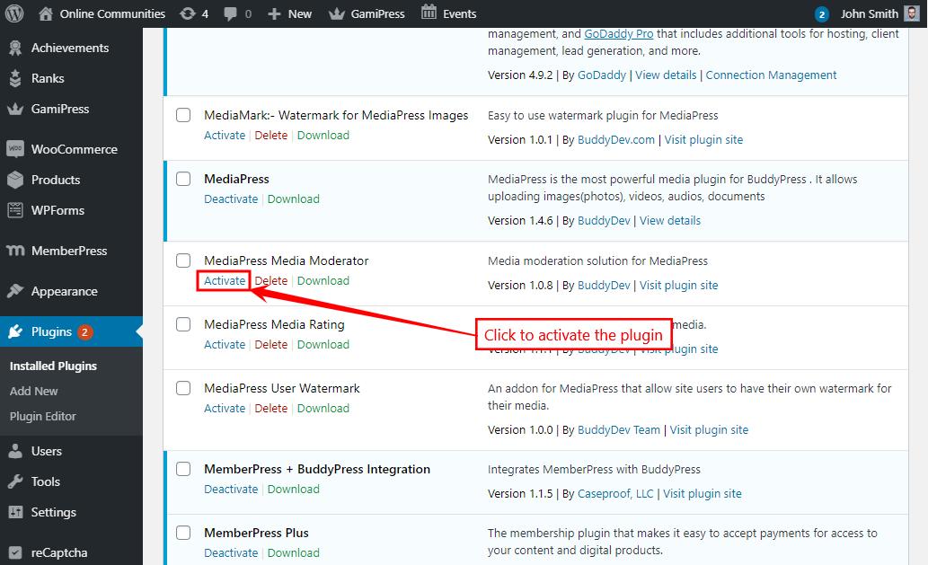 MediaPress Media Moderator - Activating the plugin