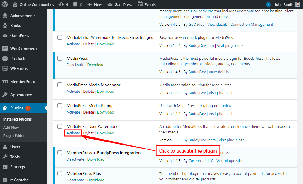 MediaPress User Watermark - Activating the plugin