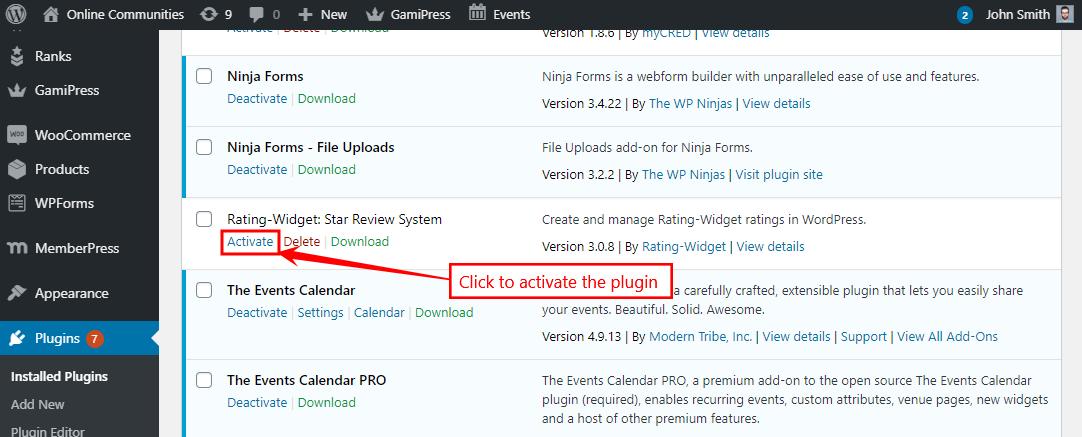 RatingWidget - Activating the plugin