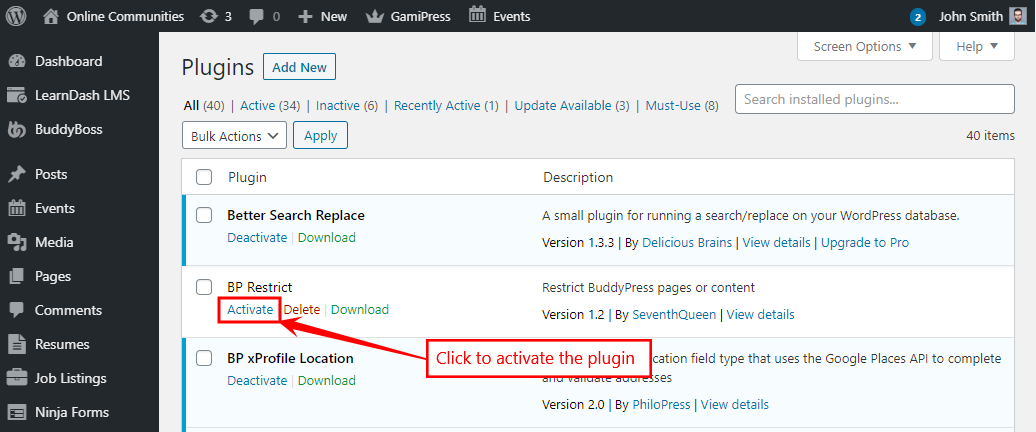 Restrictions for BuddyPress - Activating the plugin