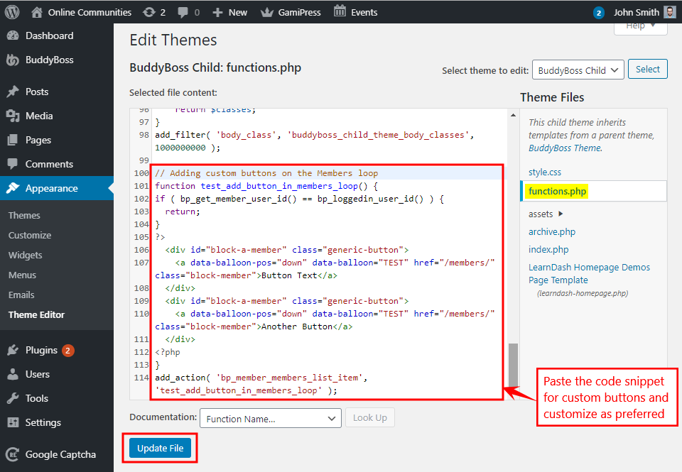 Adding the code snippet for custom buttons