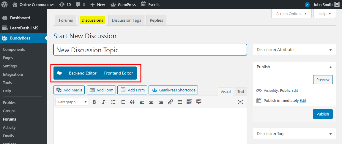 WPBakery Page Builder - WPBakery Page Builder button on the Create New Discussion page for BuddyBoss Platform