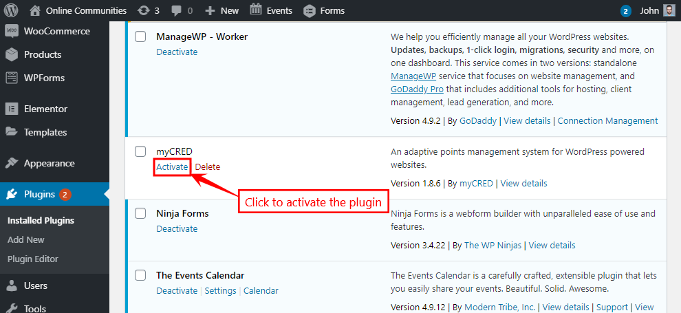 myCRED - Activating the plugin