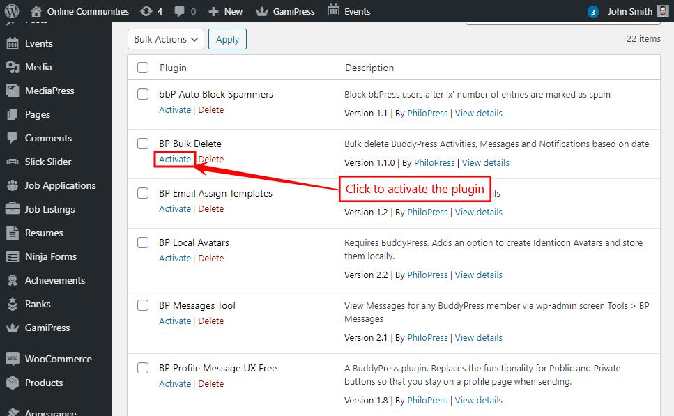 BP Bulk Delete - Activating the plugin