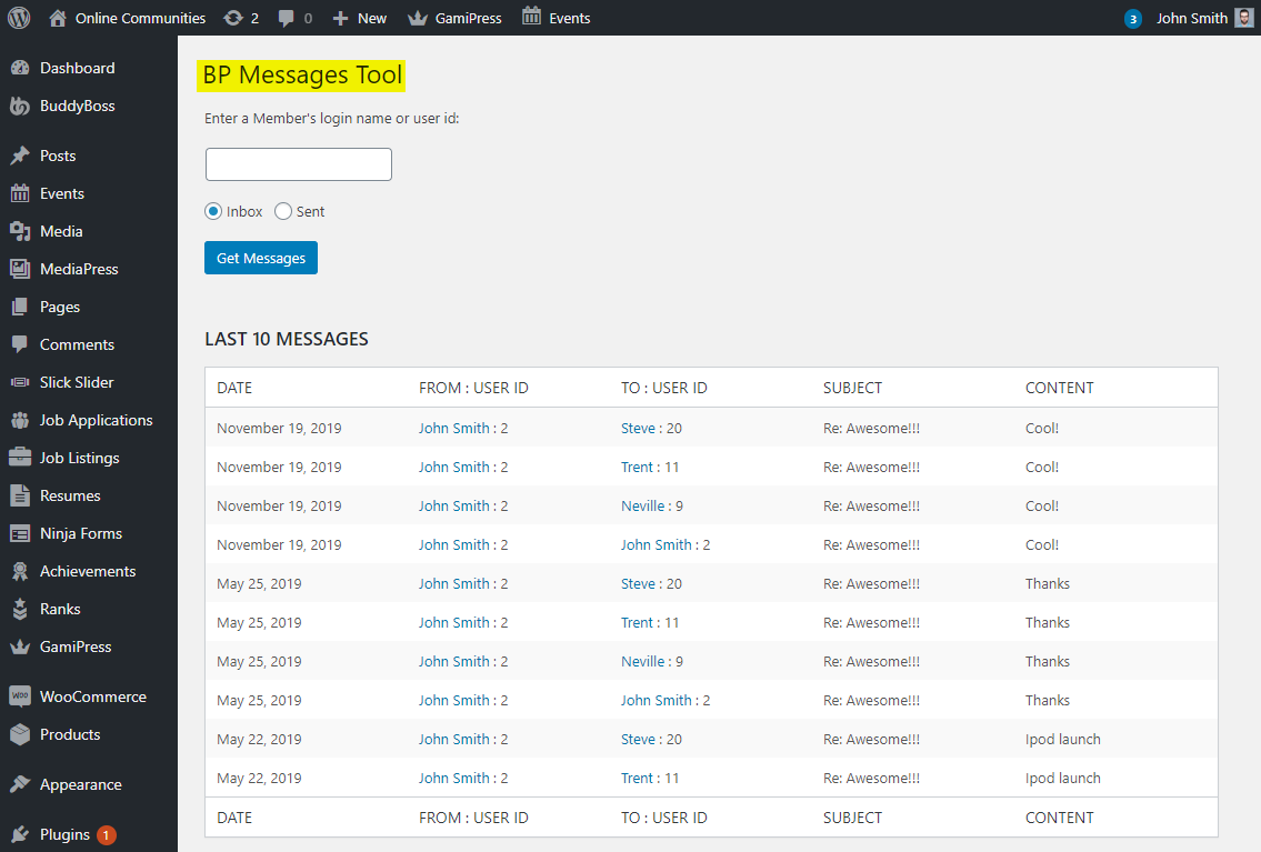 BP Messages Tool - WordPress Dashboard - Tools - BP Messages